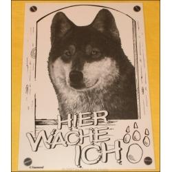 """Schild """"Hier wache ich"""" mit Husky Kopf"""