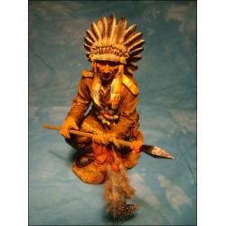 Indianer kniend mit Speer